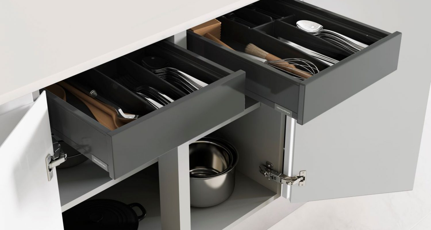 Hi-line double base with internal drawers